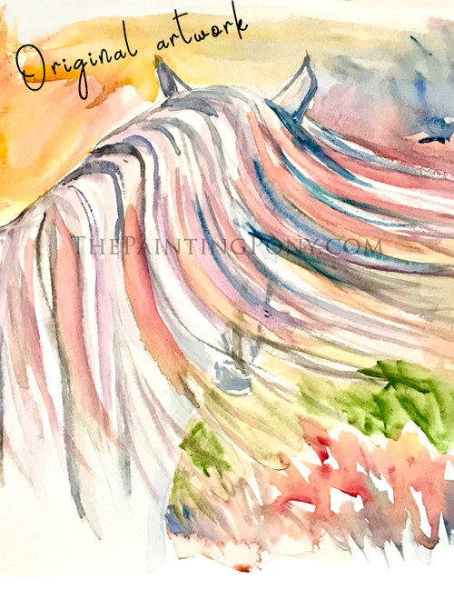 """Horse Head Watercolor Painting """"In The Wind"""" 12x18"""""""