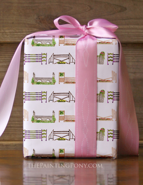 Horse Jump Pattern Equestrian Gift Wrapping Paper