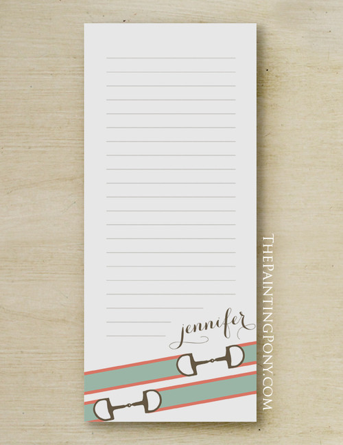 Ribbon Horse Bit Accent Personalized Equestrian Notepad