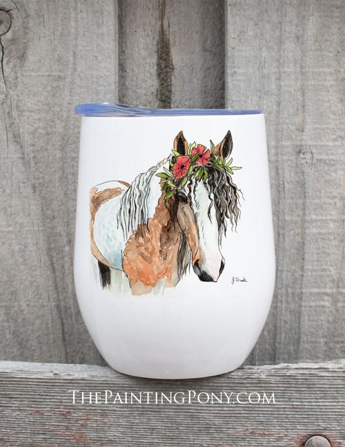 """Bohemian Horse Head Art """"Josie"""" Equestrian Wine Tumbler"""