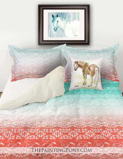 Galloping Horses Damask Pattern Equestrian Bedding Set