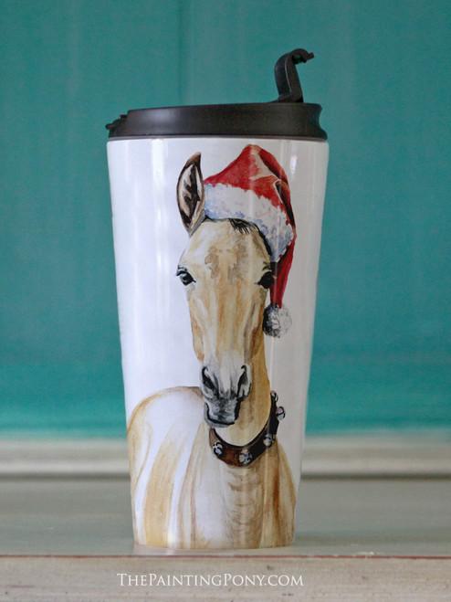 Christmas Santa Horse Foal Equestrian Travel Tumbler