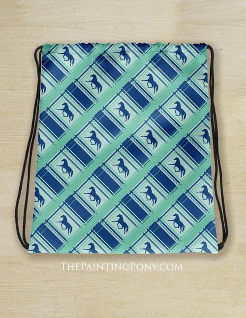 Plaid Horse Pattern Equestrian Drawstring Barn Tote Bag