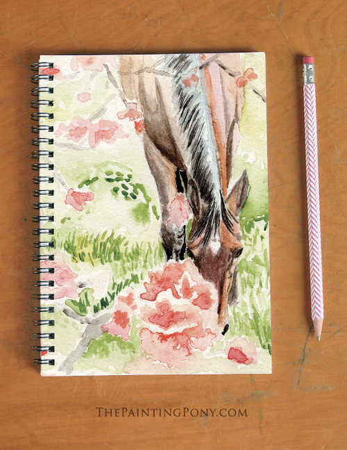 Apple Blossom Horse Art Equestrian Spiral Notebook