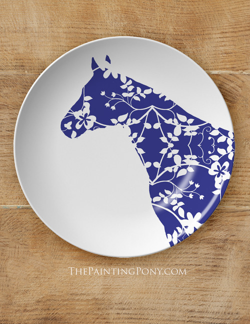 """Blue Country Floral Horse Head Equestrian 10"""" Dinner Plate"""