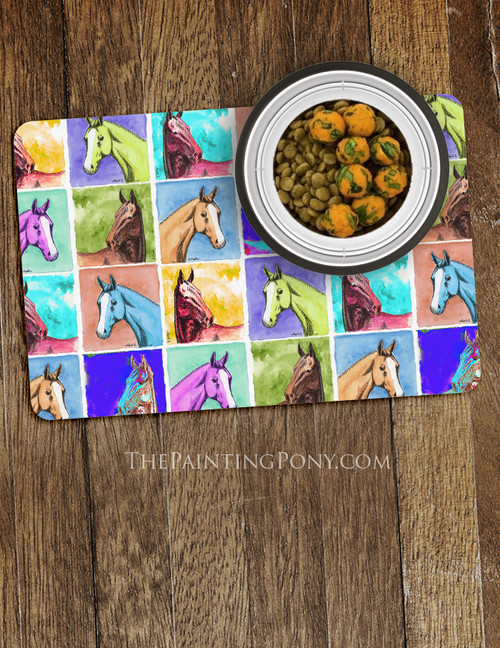 Colorful Horse Head Pattern Pet Food Mat