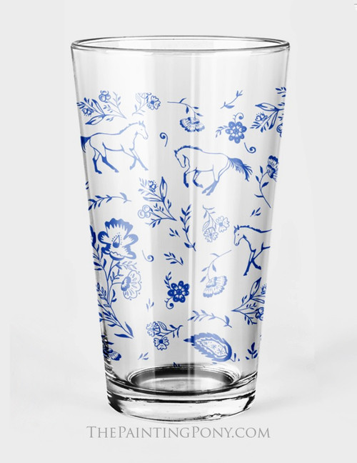 Country Floral Horse Pattern Equestrian Pint Glass (Set of 2)