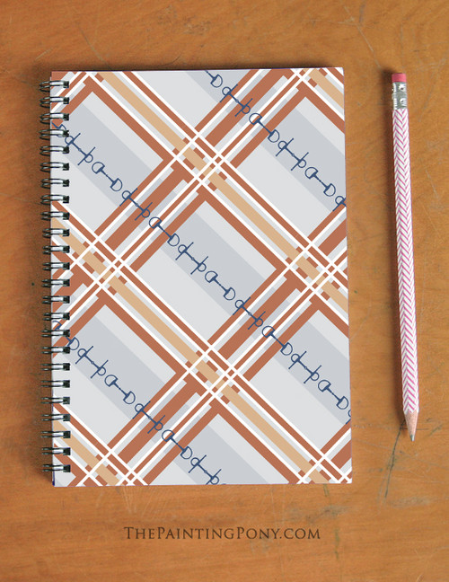 Plaid Horse Bits Pattern Equestrian Spiral Notebook