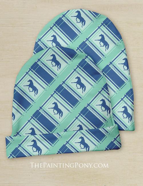 Plaid Horse Pattern Equestrian Baby Beanie Hat