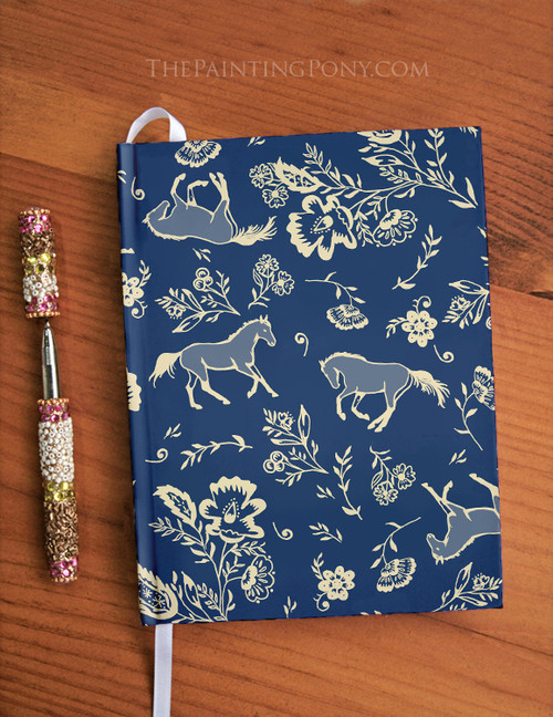 Country Floral Horse Pattern Equestrian Designer Hardbound Journal