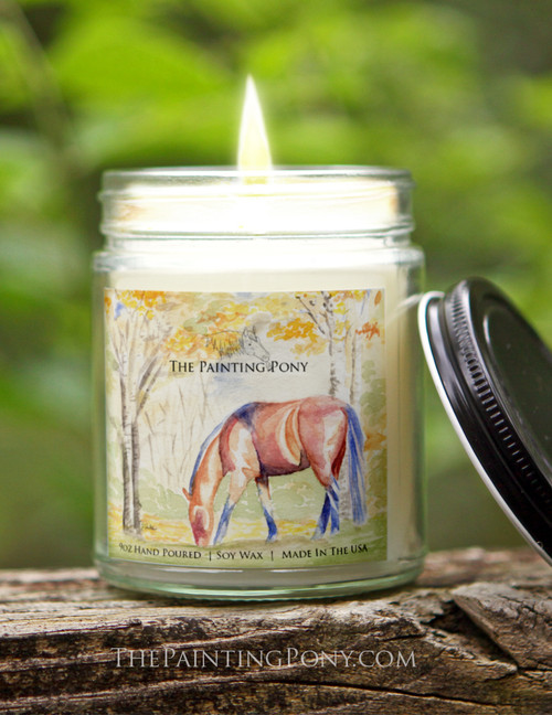 Fall Horse Lover Hand Poured 9 oz Soy Based Candle