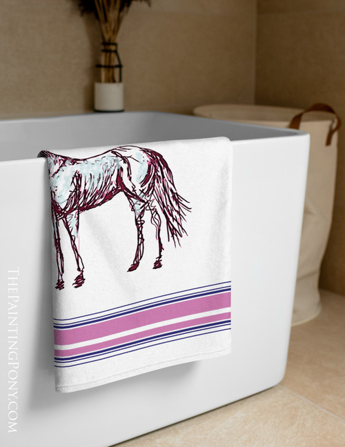 Artsy Horse Lover Equestrian Beach Towel
