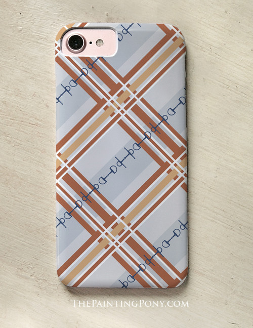 Plaid Horse Bit Pattern Equestrian Phone Case