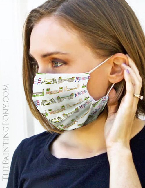 Horse Jumps Pattern Equestrian Face Mask Coverlet