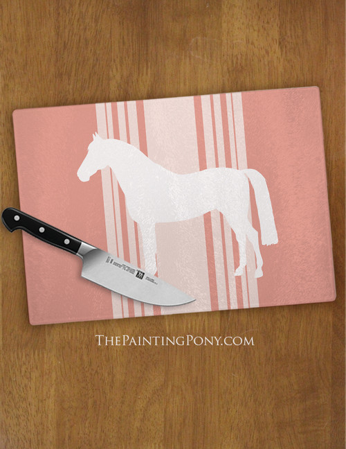 Striped Farmhouse Style Horse Lover Glass Cutting Board