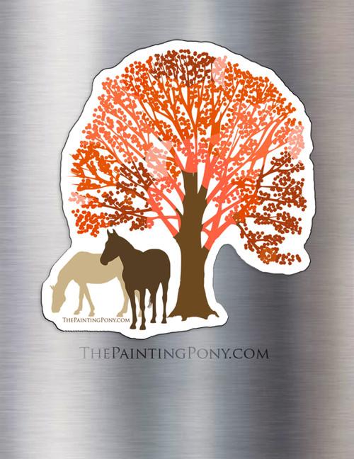 Autumn Horses Equestrian Magnet