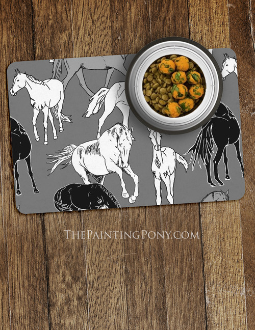 Horses All Over Equestrian Pet Food Mat