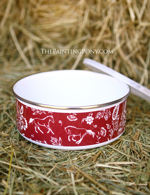 Country Floral Horse Pattern Enamel Bowl