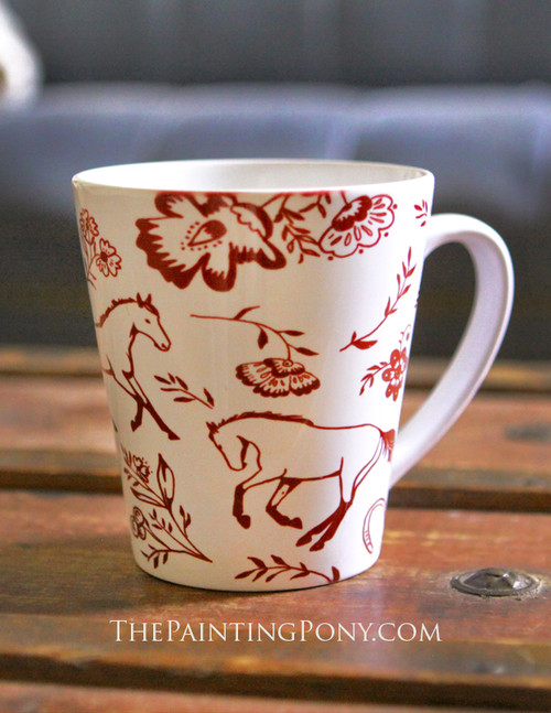 Country Floral Horse Pattern Equestrian Latte Coffee Mug (other colors available)