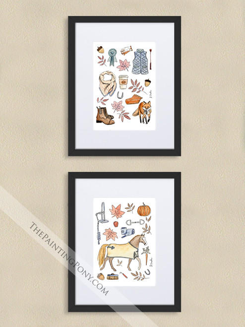 Fall Equestrian Pony and Fox Art Print Set