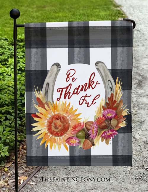 Fall Be Thankful Horse Shoe Art Equestrian Garden Flag
