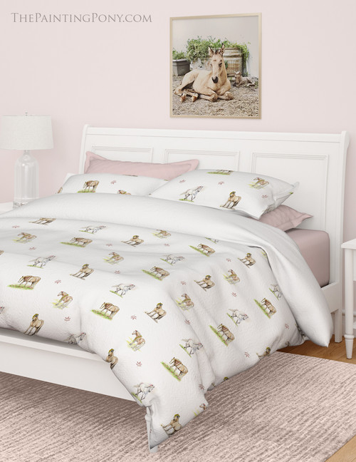 Whimsical Spring Pony Pattern Equestrian Bedding Set