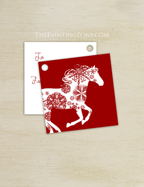 Snowflake  Horse Christmas Square Gift Tags (10 count)