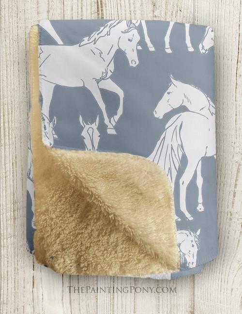 Horses All Over Sherpa Fleece Throw Blanket