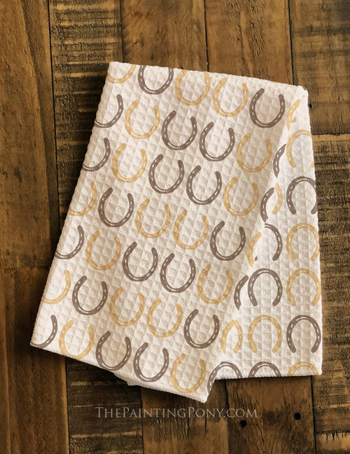 Horse Shoes Pattern Equestrian Waffle Weave Kitchen Towel
