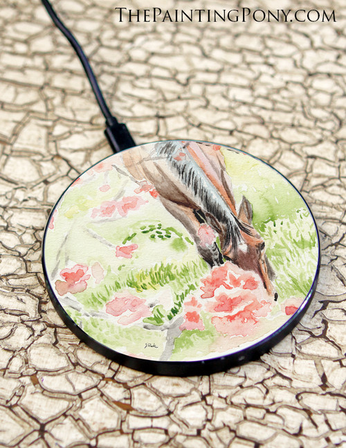 Apple Blossoms Bay Horse Watercolor Equestrian Art Wireless Charger