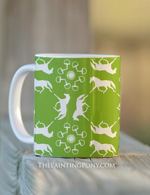 Trotting Ponies and Bits Pattern Equestrian Coffee Mug