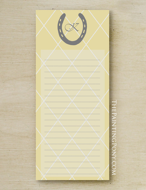 Monogram Yellow Horse Shoe Equestrian Notepad