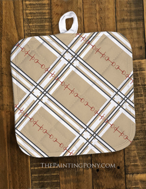 Plaid Horse Bit Pattern Equestrian Pot Holder