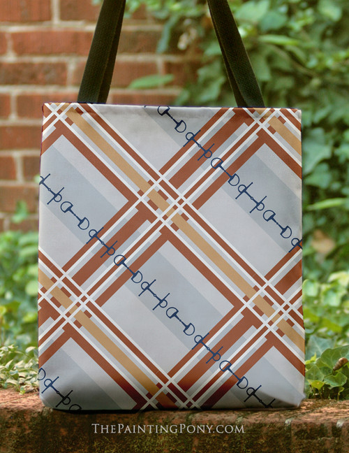 Fall Plaid Horse Bit Pattern Equestrian Tote Bag