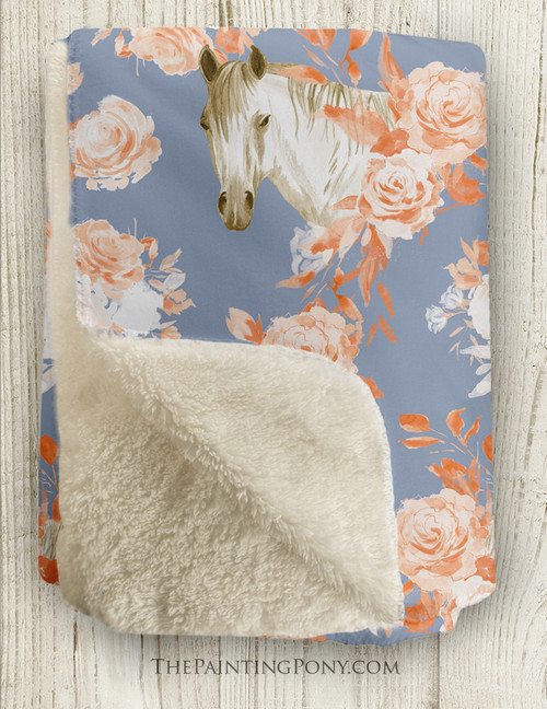 Chic Floral Horse Head Pattern Sherpa Fleece Throw Blanket