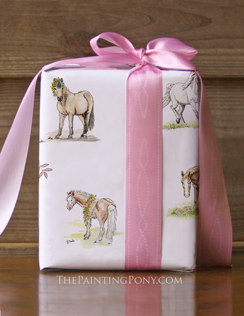 Whimsical Pony Pattern Equestrian Gift Wrapping Paper