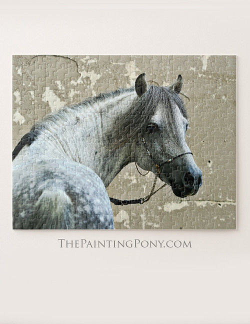 Dappled Gray Capsian Horse Head Equestrian Jigsaw Puzzle