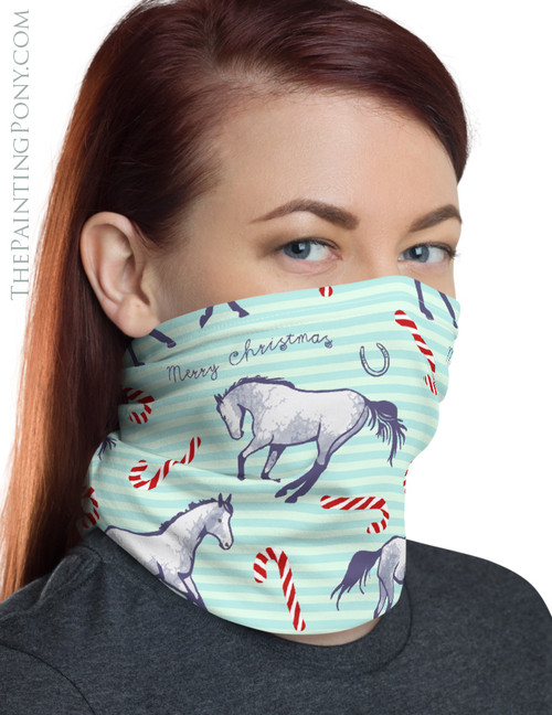 Candy Canes and Ponies Equestrian Christmas Neck Gaiter