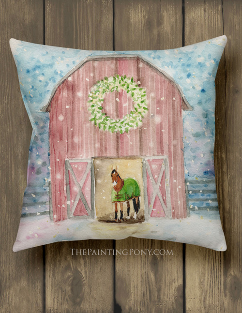 Snowy Red Horse Barn Farmhouse Style Holiday Throw Pillow