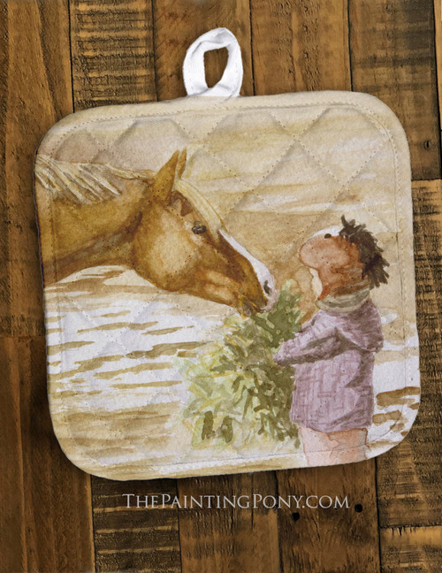 Morning Hay Equestrian Pot Holder