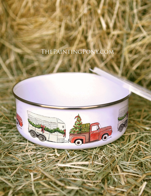 Old Red Farm Truck Country Christmas Metal Enamel Bowl