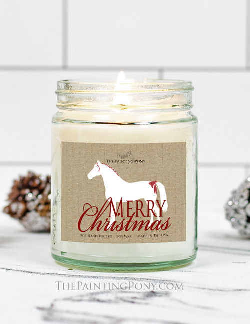 White Christmas Horse 9 oz Soy Jar Candle