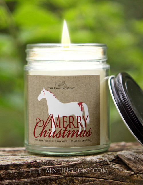 White Christmas Horse 9 oz Soy Jar Candle