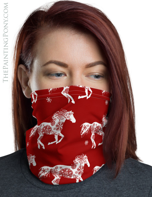 Snowflake Horse Equestrian Christmas Neck Gaiter