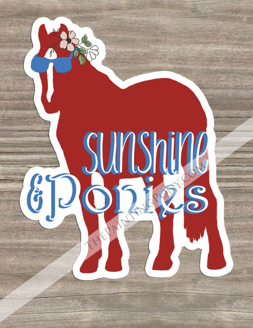 Sunshine and Ponies Sunglass Horse Equestrian Die-Cut Vinyl Sticker