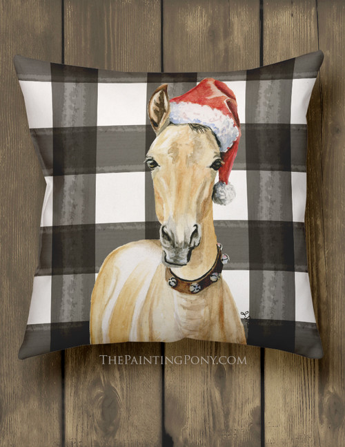 Christmas Santa Horse Foal Art Country Throw Pillow