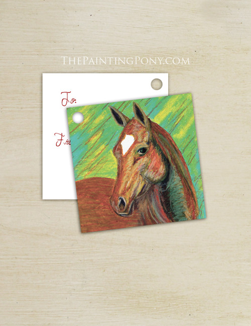 Chestnut Horse Head Equestrian Square Gift Tags (10 count)