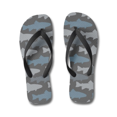 Blue Trout Fish patterned flip flops for fly fishers
