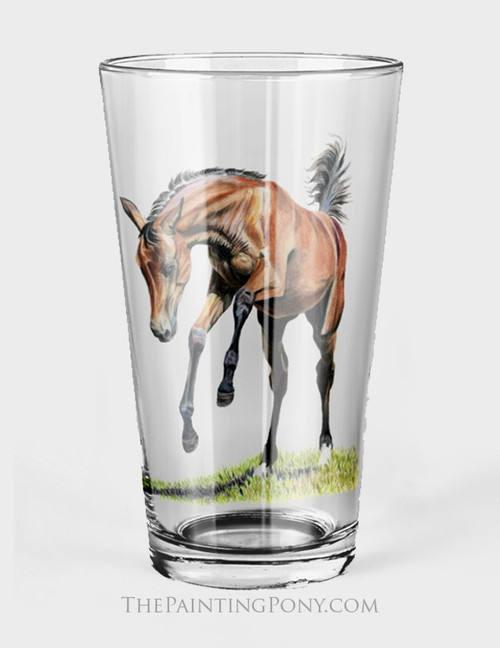 Playful Filly Equestrian Pint Glass (Set of 2)