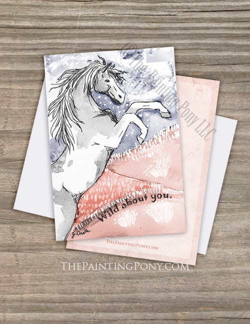 Wild About You Horse Lover Valentine's Day Flat Cards (10 pk)